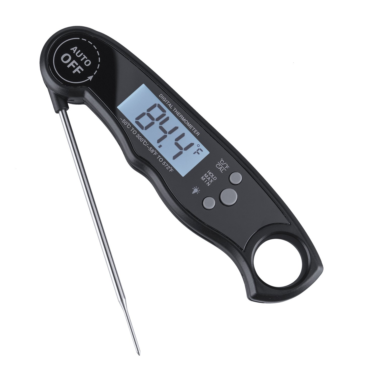 Meat Thermometer, AIBIS Ultra Fast Instant Read Thermometer with Collapsible Probe and Magnet Waterproof Kitchen Cooking Thermometer for Outdoor BBQ Fork Grill Smoker Fry Food, Black