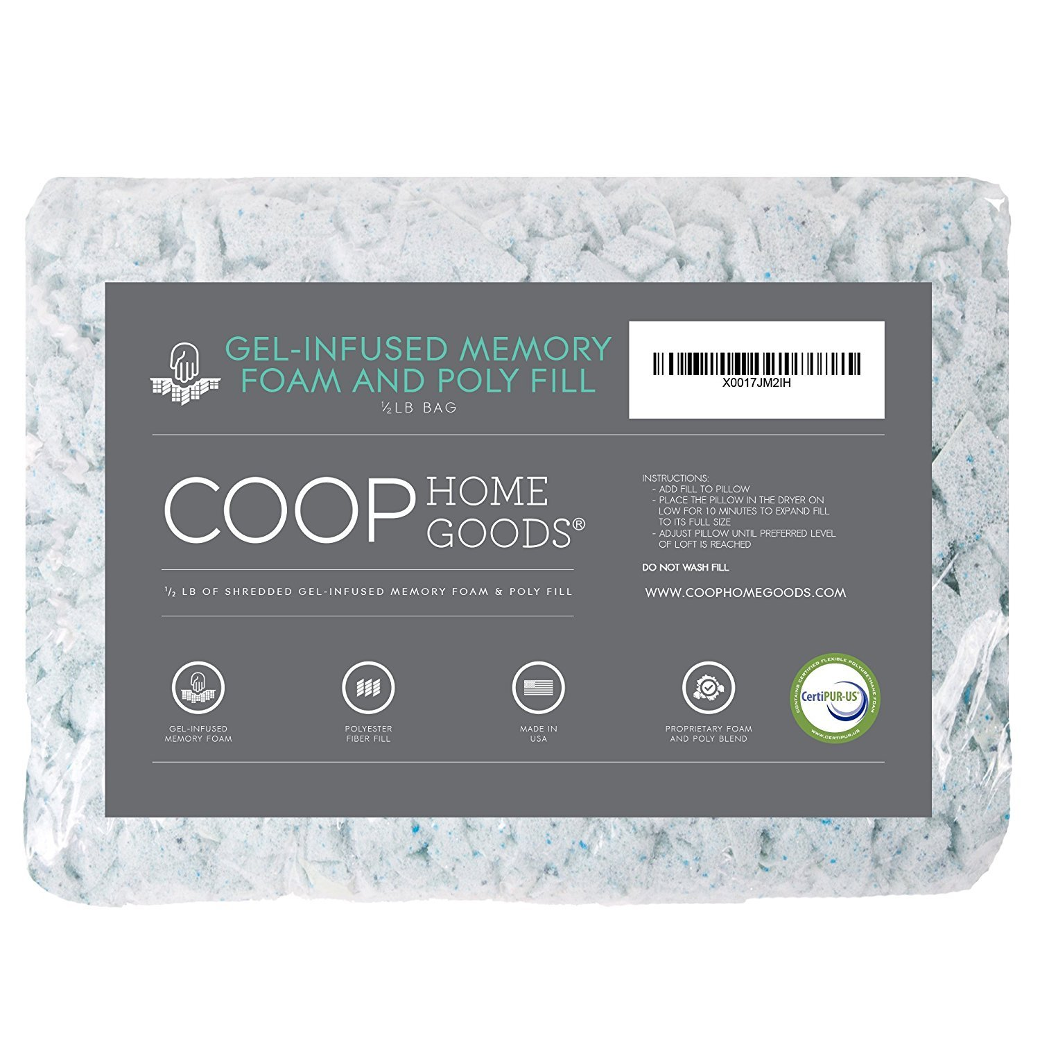 Coop Home Goods - Adjustable Shredded Gel Memory Foam and Poly Fiber Fill - 1/2 lb Refill for Eden Pillow COMIN18JU056110