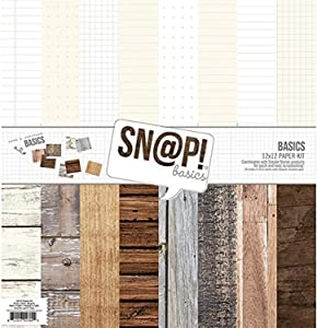 SIMPLE STORIES Snatp Wood Grain Basics Paper Kit, Multicolor