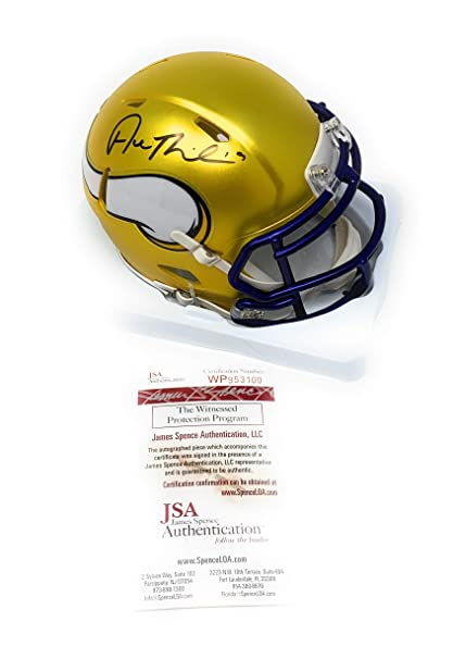 151b9a15f91 Adam Thielen Minnesota Vikings Signed Autograph RARE Blaze Speed Mini  Helmet JSA Witnessed Certified