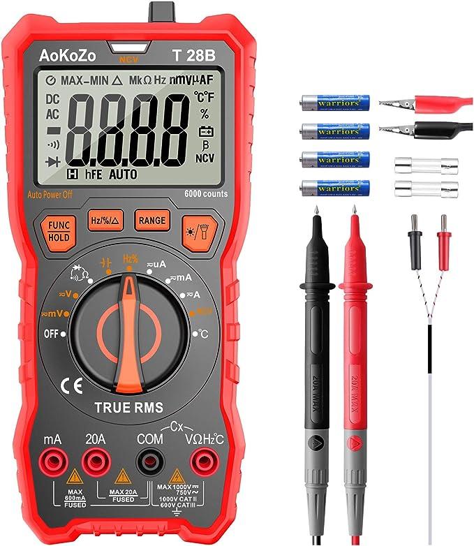 Noir et rouge Beauneo Une paire de Ligne de test multimetre a Fiche banane 1000V 2.6 Ft Sonde de voltmetre Cable de test de voltmetre
