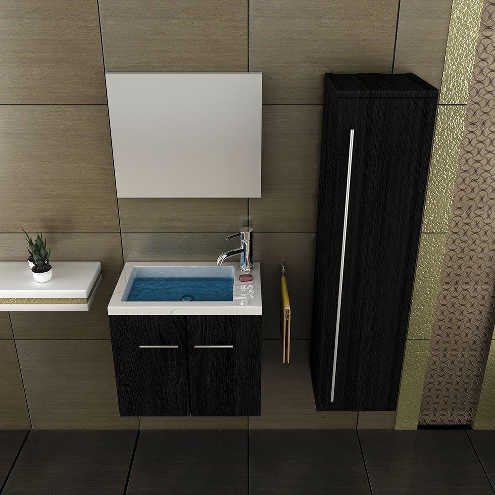 Waschbecken Mit Unterschrank Gäste Wc waschbecken mit unterschrank edles furnier schwarz spiegel gäste