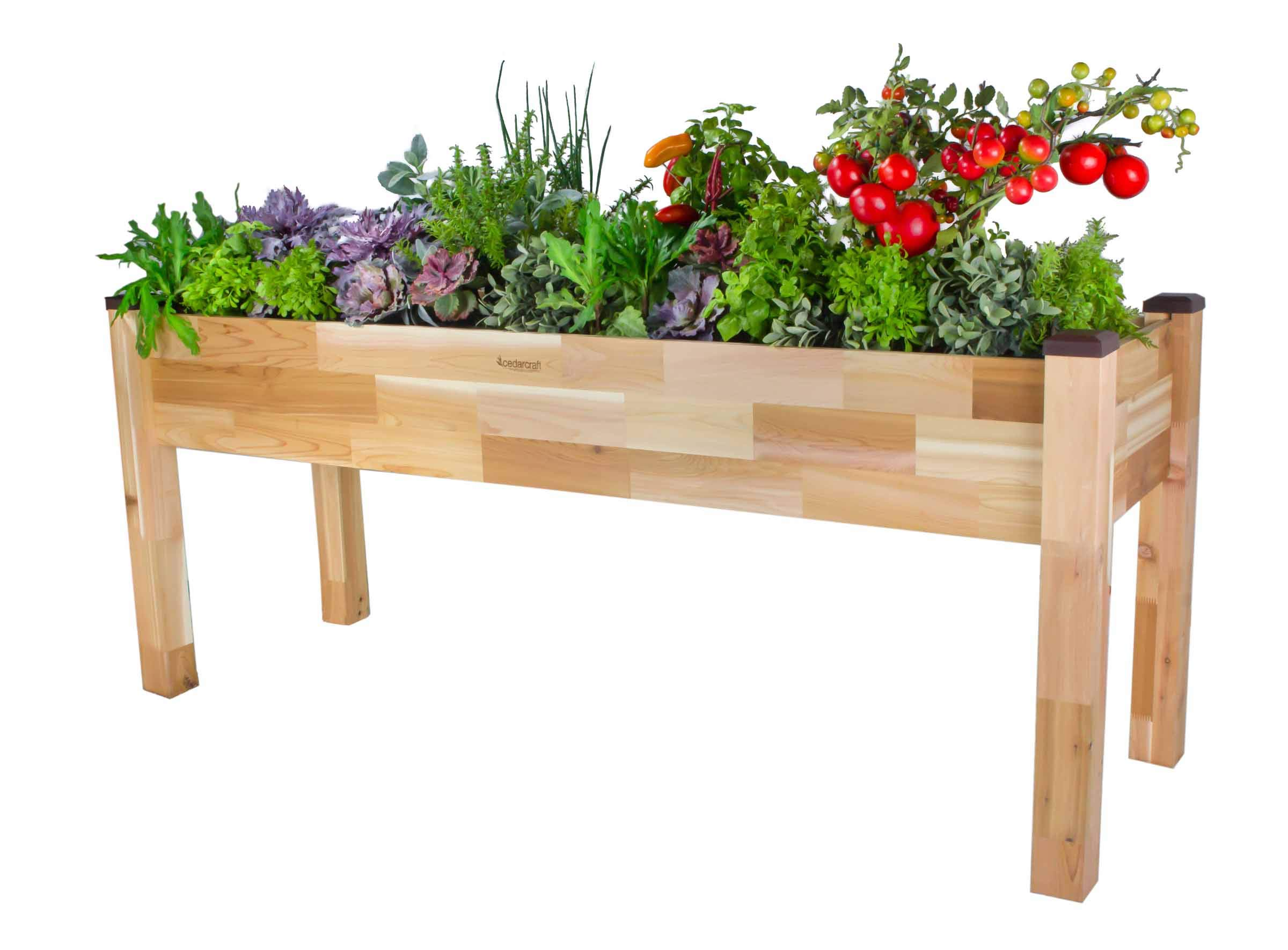 CedarCraft Elevated Cedar Planter (23'' x 72'' x 30''H) - Grow Fresh Vegetables, Herb Gardens, Flowers & Succulents. Beautiful Raised Garden Bed for a Deck, Patio or Yard Gardening. Super Easy Assembly