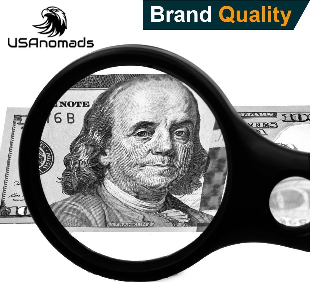 USAnomads Brand Quality Professional Magnifying Glass with 3 LED Lights by 3 X 45X loupe Handheld Magnifier for Reading, Jewelry and Maps. Magnifier with light