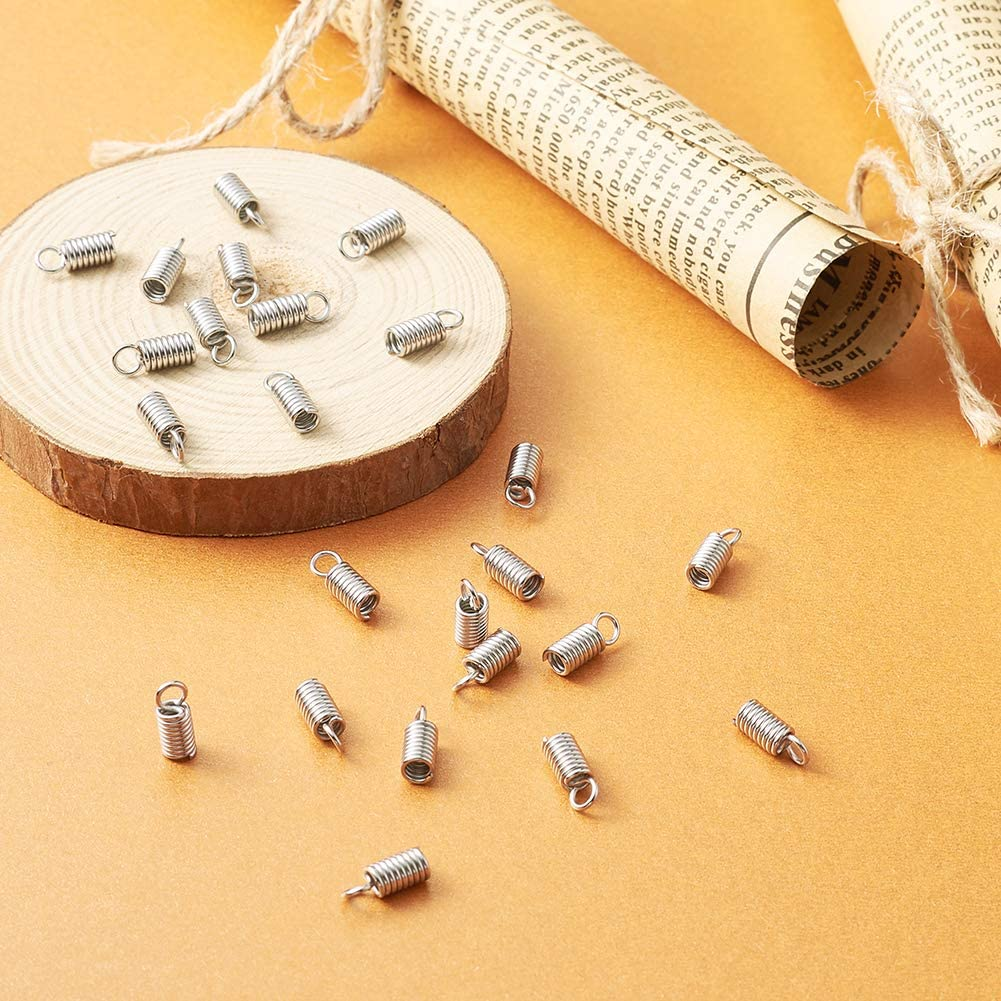 Pandahall 50pcs 304 Stainless Steel Tube Coil Cord Ends Cord Cap Tip Leather Cord Ends Caps Necklace Spring Fastener Crimp Clasp Jewelry Making 10x4mm
