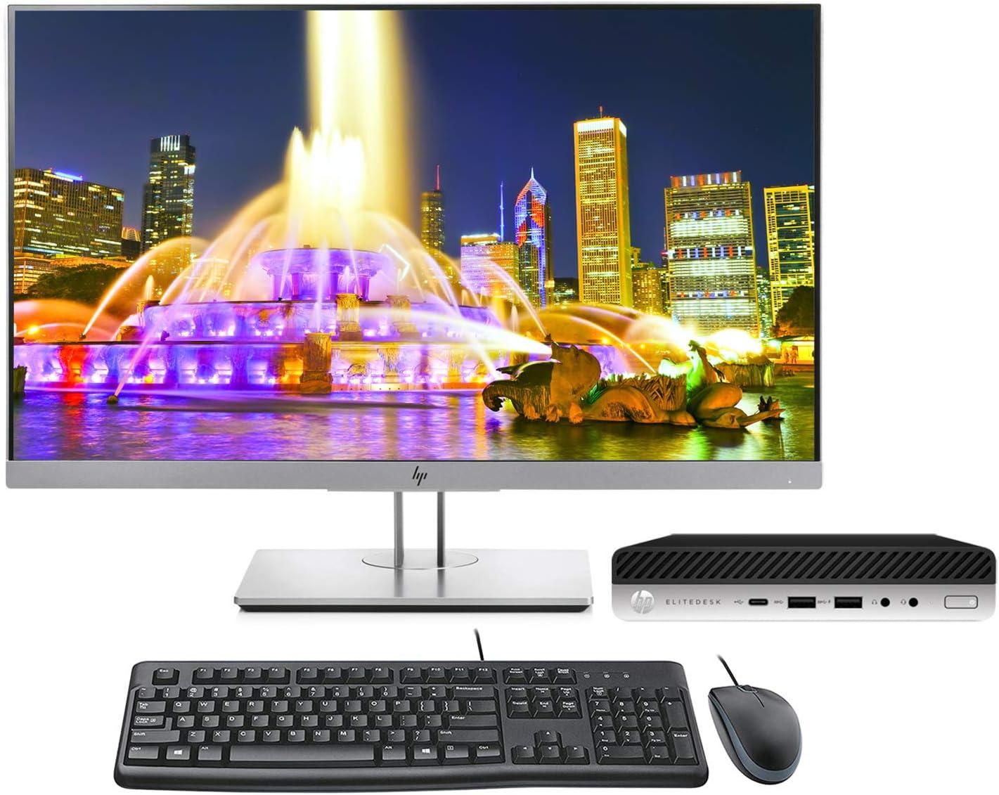 HP EliteDesk 705 G4 Desktop Mini PC Bundle with 24 inch E243 Monitor, Keyboard, Mouse, WiFi, Ryzen 5 Pro, 8GB, 256GB SSD, Windows 10 Pro (Renewed)