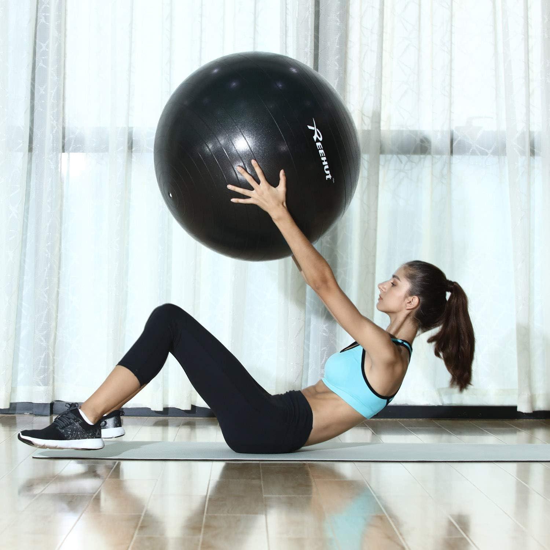REEHUT Anti-Burst Gymnastikball Pumpe mit Belastbarkeit bis zu 500kg Core-Training Fitness Yoga Pilates Ball