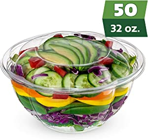 [50 Sets] 32 oz. Plastic Salad Bowls To-Go With Airtight Lids, Salad Containers