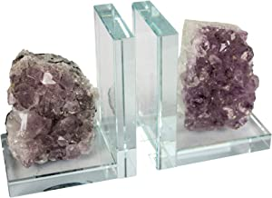 "Sagebrook Home S/2 Glass & Amethyst Bookends, 9.5"" x 3.25"" x 5.5"", Purple/Clear"