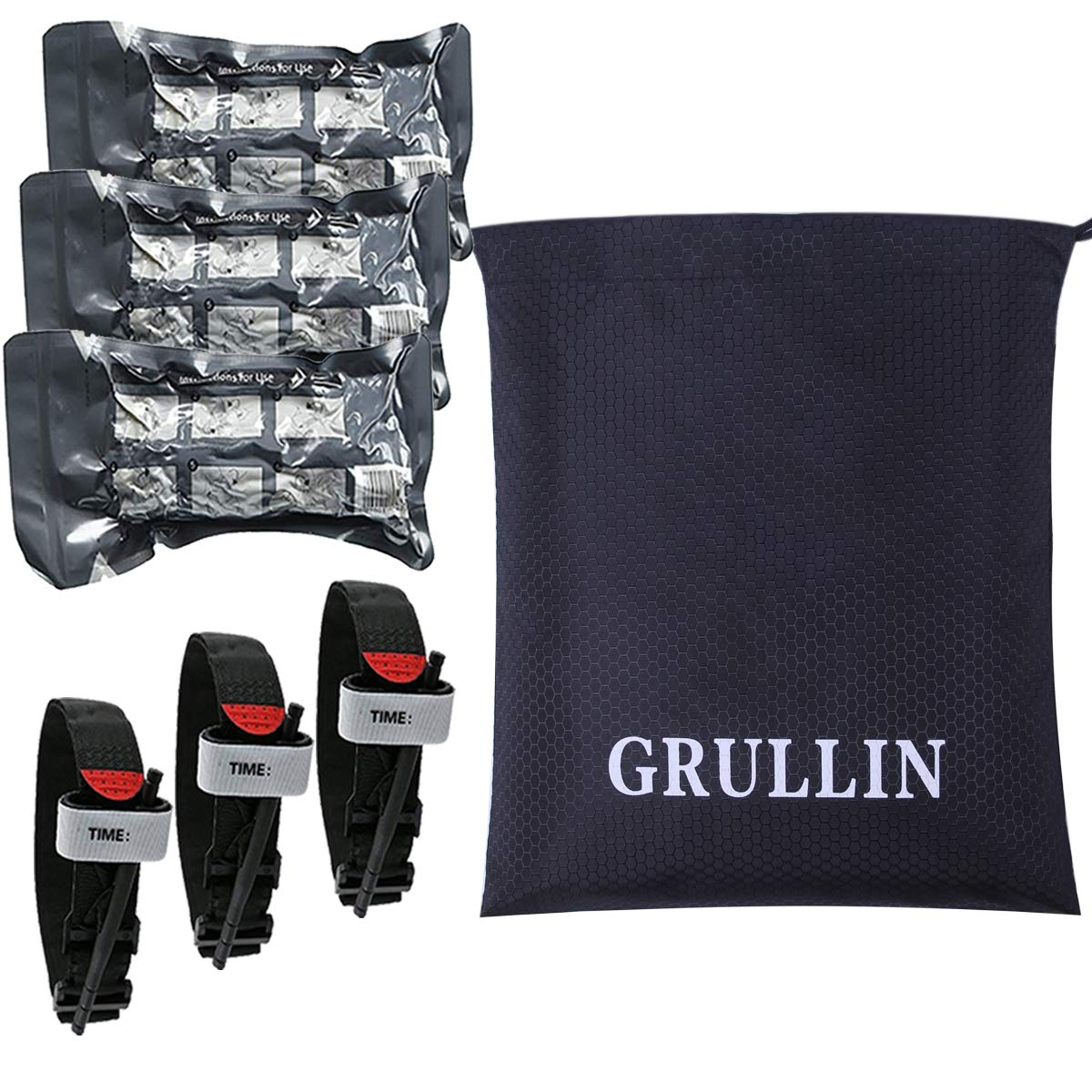 GRULLIN Trauma First aid Accessories Supplementary Kit-3 Pack Outdoor Portable Israeli Bandage+3 Pack Quick Slow Tourniquet with a Bundle Pocket by GRULLIN