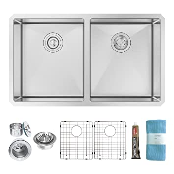 zuhne 32 inch undermount 50 50 deep double bowl 16 gauge stainless steel modern kitchen zuhne 32 inch undermount 50 50 deep double bowl 16 gauge stainless      rh   amazon com