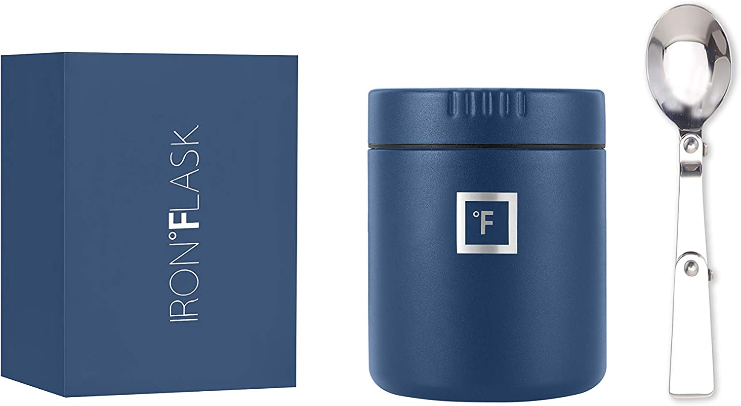IRON °FLASK Food Jar - 13.5 Oz, Foldable Spoon, Leak Proof, Vacuum Insulated Thermos, Stainless Steel, Simple Storage Lunch, Modern Container, Hydro Metal Canteen, Double Walled, Portable Food Bowl