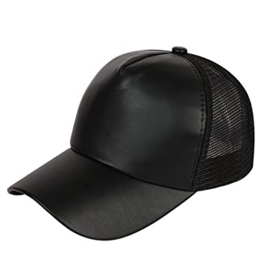 d0b48e1f0fa ILU Men s Faux Leather Baseball Cap (Black)  Amazon.in  Clothing ...