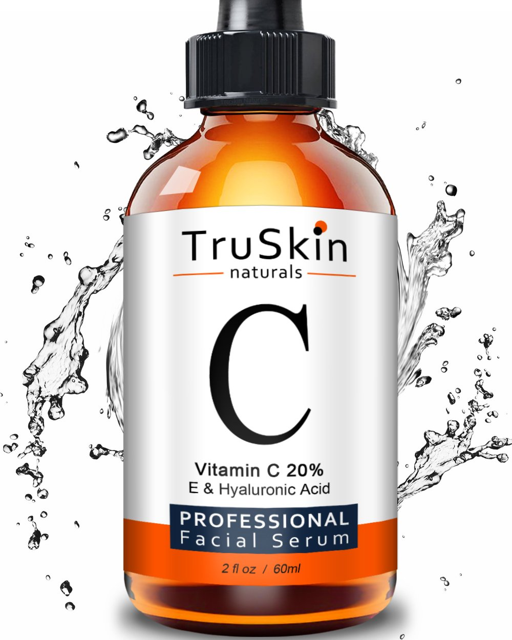 The BEST ORGANIC Vitamin C Serum - [BIG 2-OZ Bottle] - Hyaluronic Acid, 20% C + E Professional Topical Facial Skin Care to Repair Sun Damage, Fade Age Spots, Dark Circles, Wrinkles & Fine Lines -2 oz TruSkin Naturals