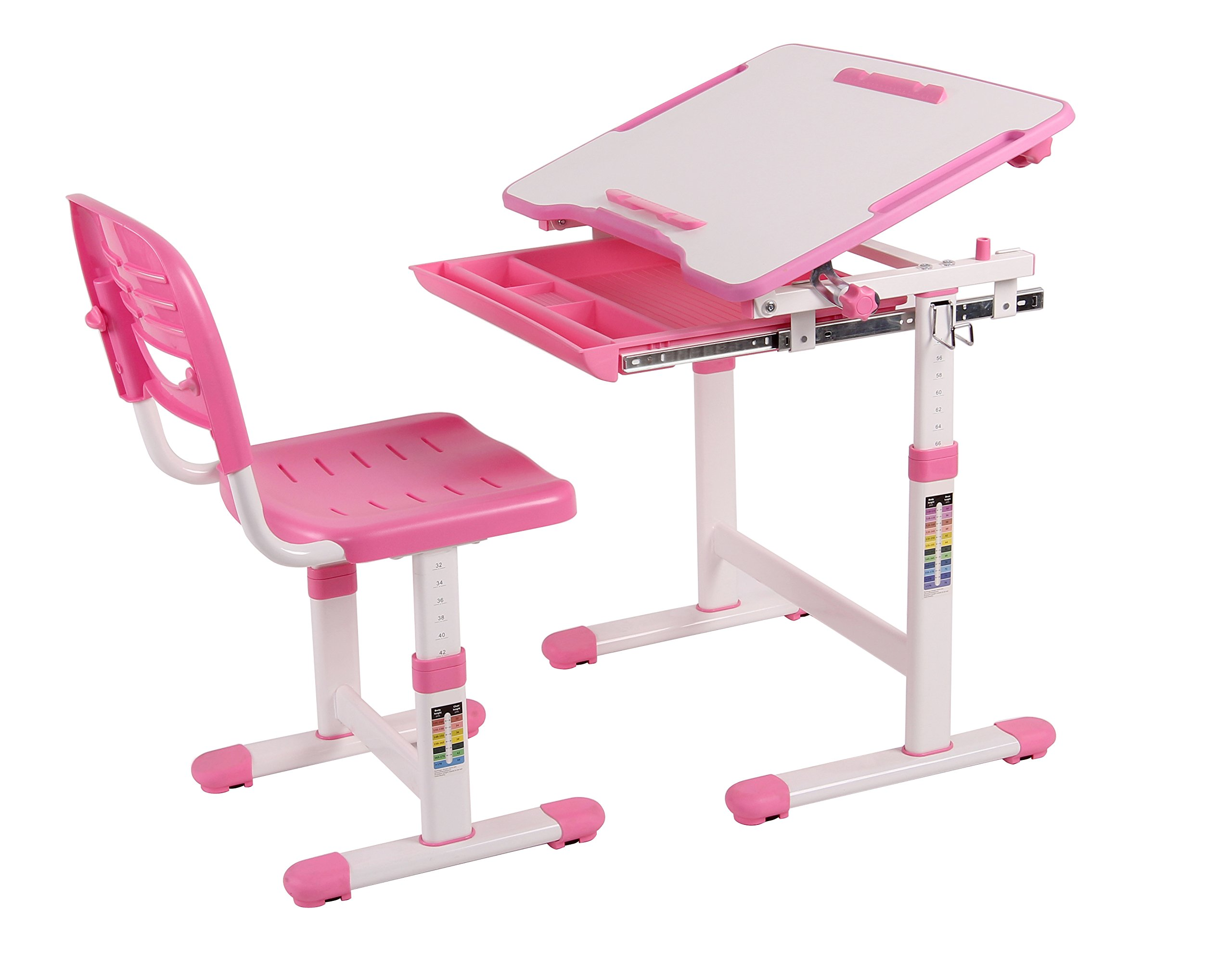 Wymo Kids Ergonomic Adjustable Childrens Desk & Chair With Drawing Paper Roll (Pink)