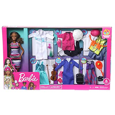 "Barbie ""Dream Careers Doll Set - 6 Career Outfits (African American): Toys & Games"