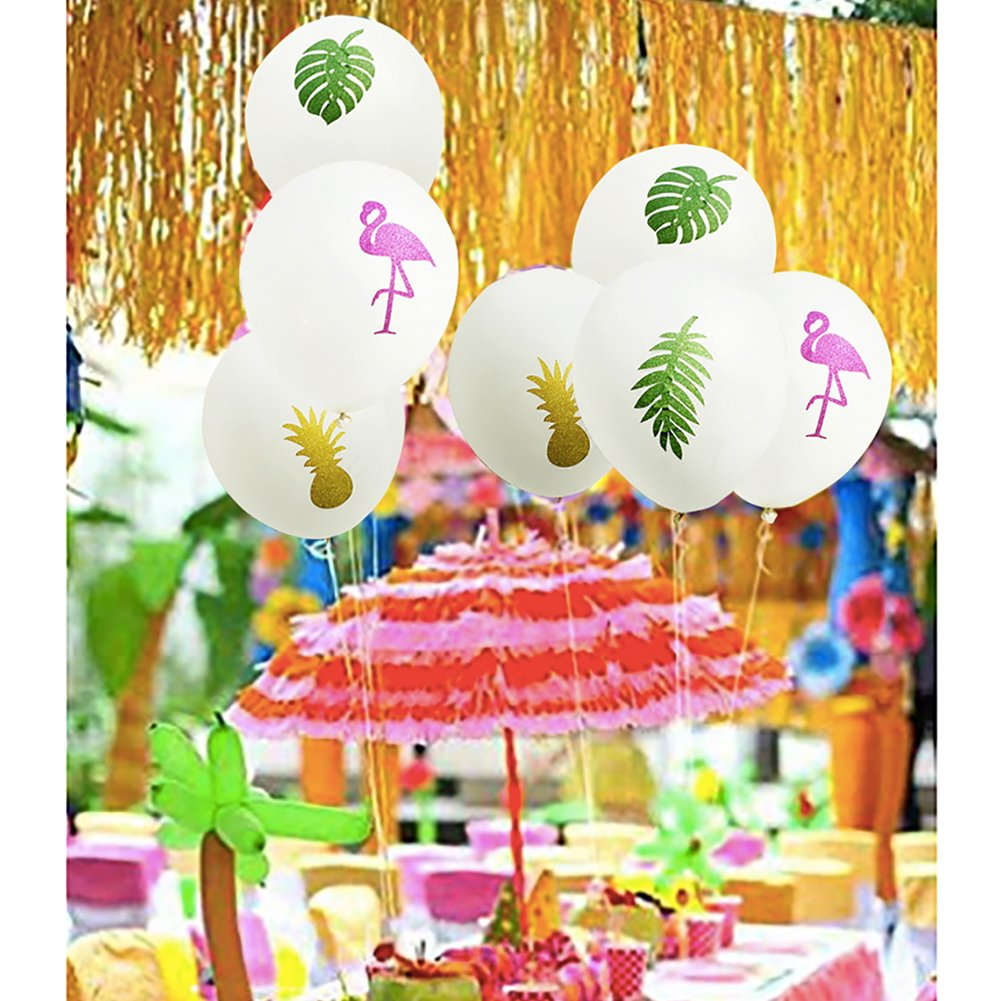 12Latex White balloons 12 Pack Albabe Flamingo balloons,12Latex White balloons,Pineapple Leaf decorations balloons Sparkly Sticker for Hawaiian Luau Tropical Party Favors Supplies