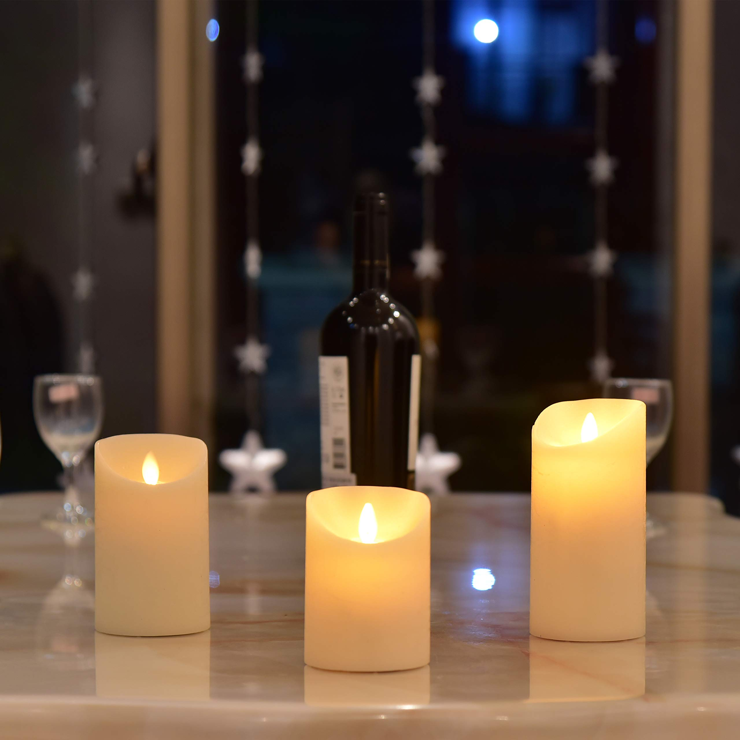 Led Flameless Candles, Set of 3 Ivory Wax Moving Flame Flickering Luxury Candle Gift with Timer Dimmable Battery Operated Light by Y YUEGANG (Image #3)