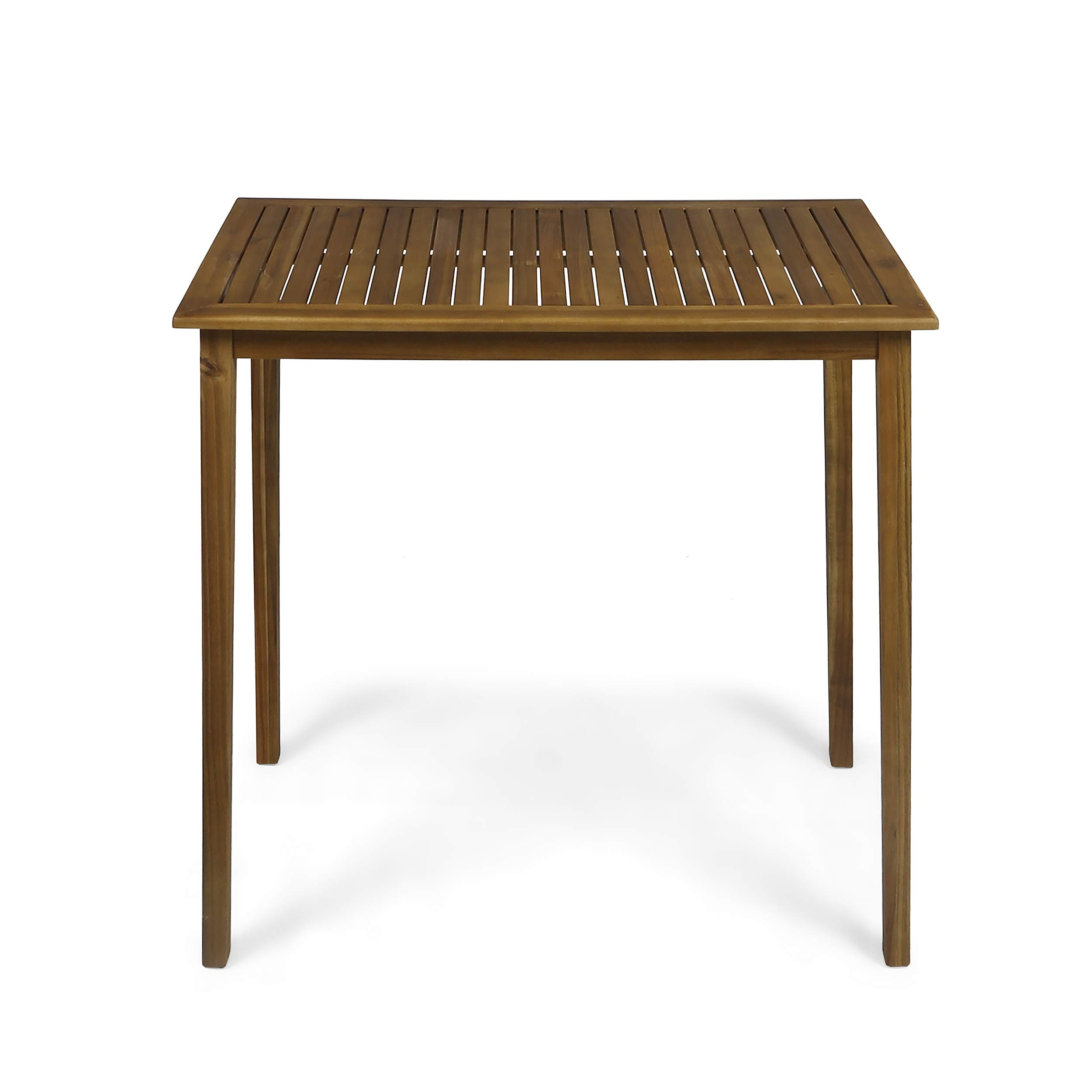 Great Deal Furniture Teresa Outdoor Minimalist Acacia Wood Rectangle Bar Table - Teak Finish