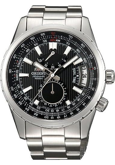 Orient # DH01002B Voyager de hombres negro Dial Doble Tiempo Potencia reserva automático reloj de acero inoxidable: Amazon.es: Relojes