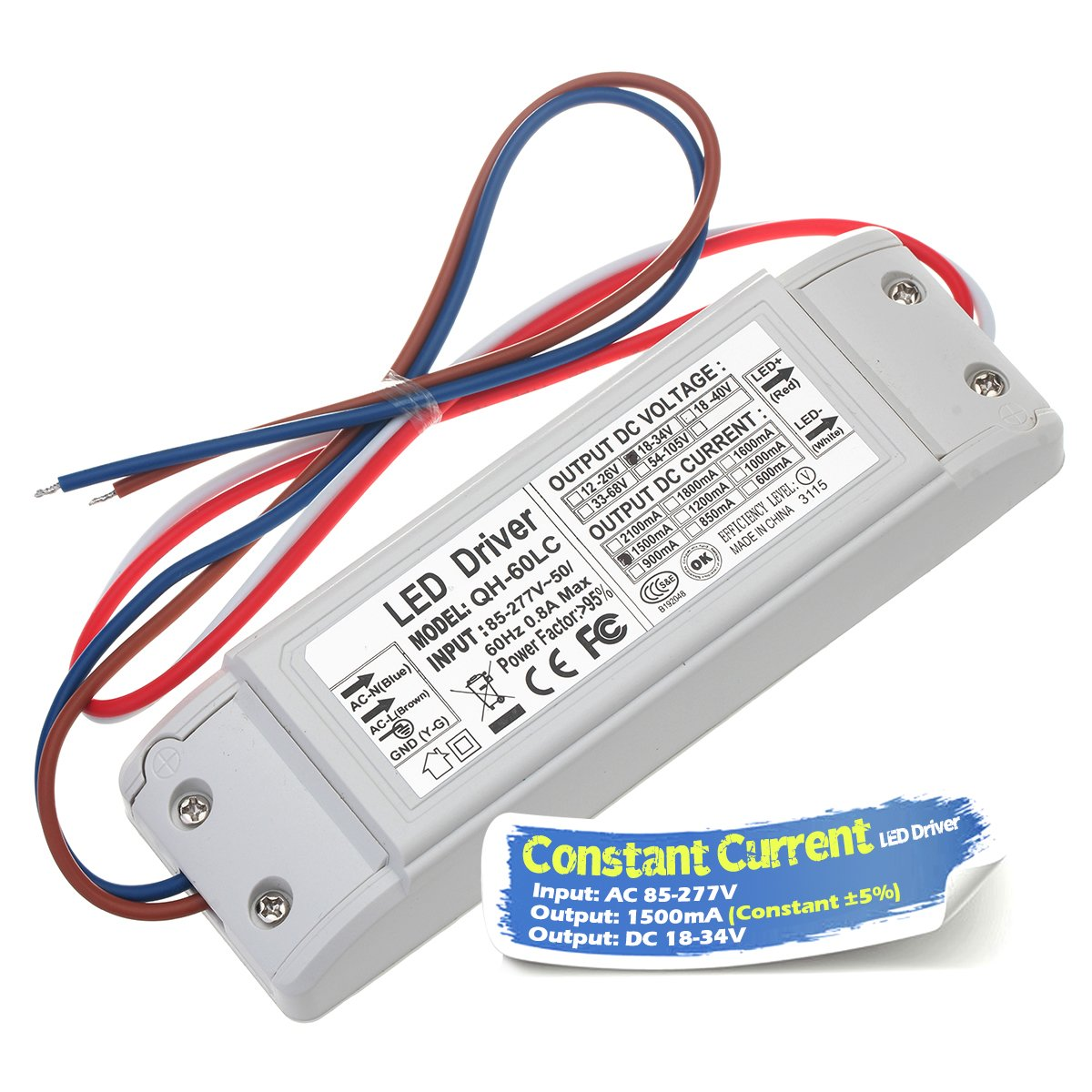 Chanzon LED Driver 1500mA (Constant Current Output) 18V-34V (Input 85-277V AC-DC) (6-10) x5 30W 35W 40W 45W 50W Power Supply 1500 mA Lighting Transformer for High Power 50 W COB Chips (Plastic Case)