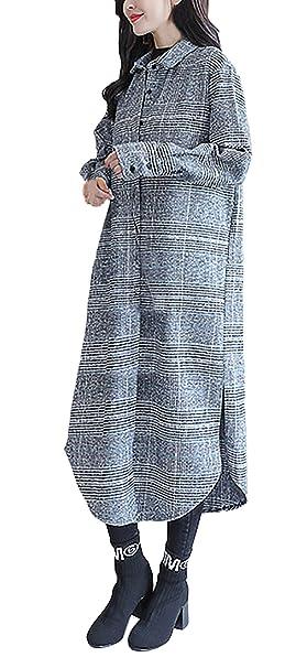 Abrigos Mujer Largos Vintage Fashion Classic Manga Larga Camisa A Cuadros De Solapa Anchas Informales Ropa Elegantes Gabardina Outwear Cazadoras Primavera ...