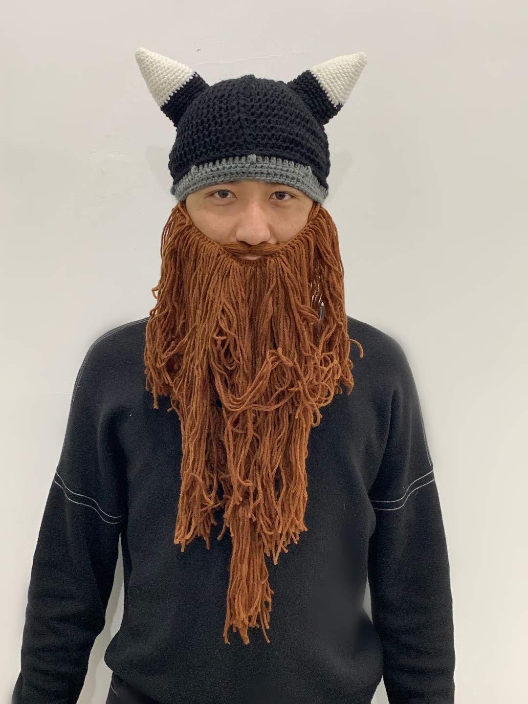 Cappello Vichingo Cappello da Barba Berretto da Pirata Cappello da Vichingo con Barba Marrone Cappello da Vichingo con Barba Lunga WANGSHUDANG Cappello Invernale con Barba