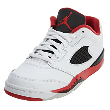 more photos 0c36d e838f Nike Boy s Jordan 5 Retro Low Basketball Shoe White Fire Red-black 11.5 Y  US  Amazon.in  Baby