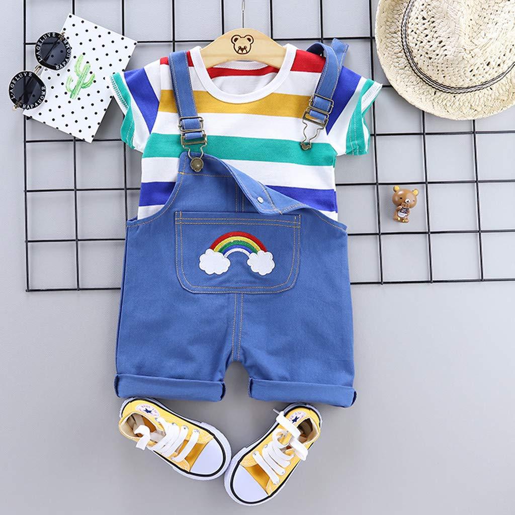 TTLOVE Kleinkind Boy Kinder Regenbogen Streifen Tops T-Shirt Riemen Kurze Outfits Set,Baby Jungen Bekleidungssets Baby Kleikind F/üR Sommer Festliche Taufe Hochzeit