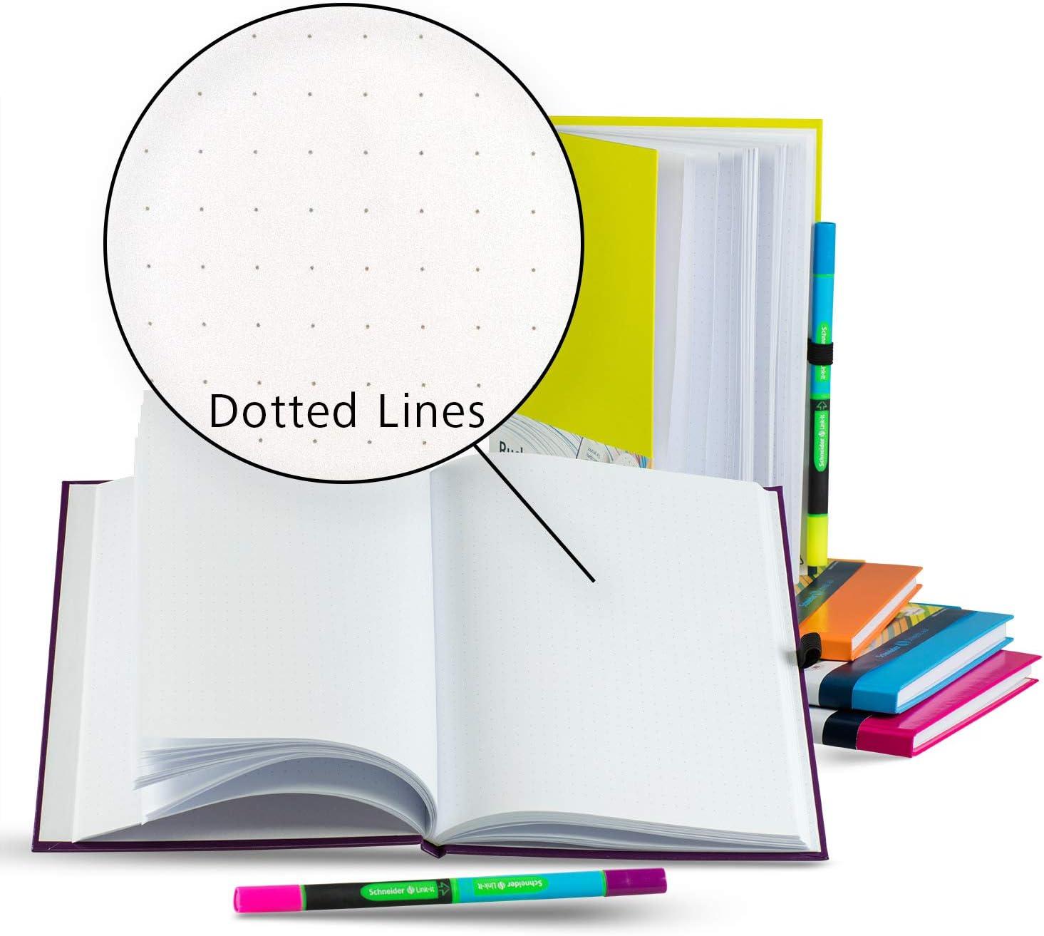 Punkteraster, 128 Seiten, Kugelschreiber blau und Textmarker pink pink Schneider Notizbuch A5 mit Link-It Slider