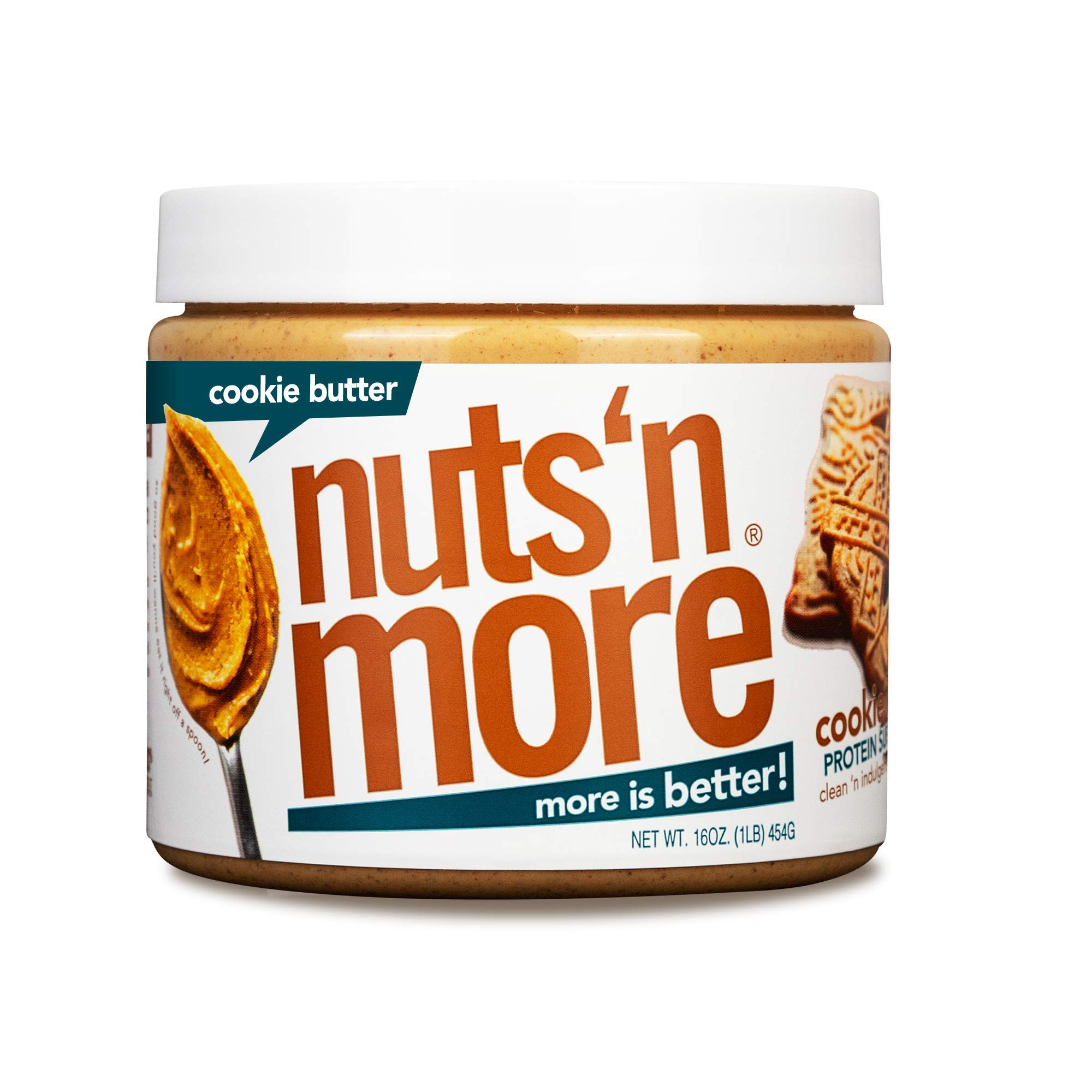 Nuts 'N More Cookie Butter Peanut Butter Spread, All Natural Keto Snack, Low Carb, Low Sugar, Gluten Free, Non-GMO, High Protein Flavored Nut Butter (16 oz Jar)