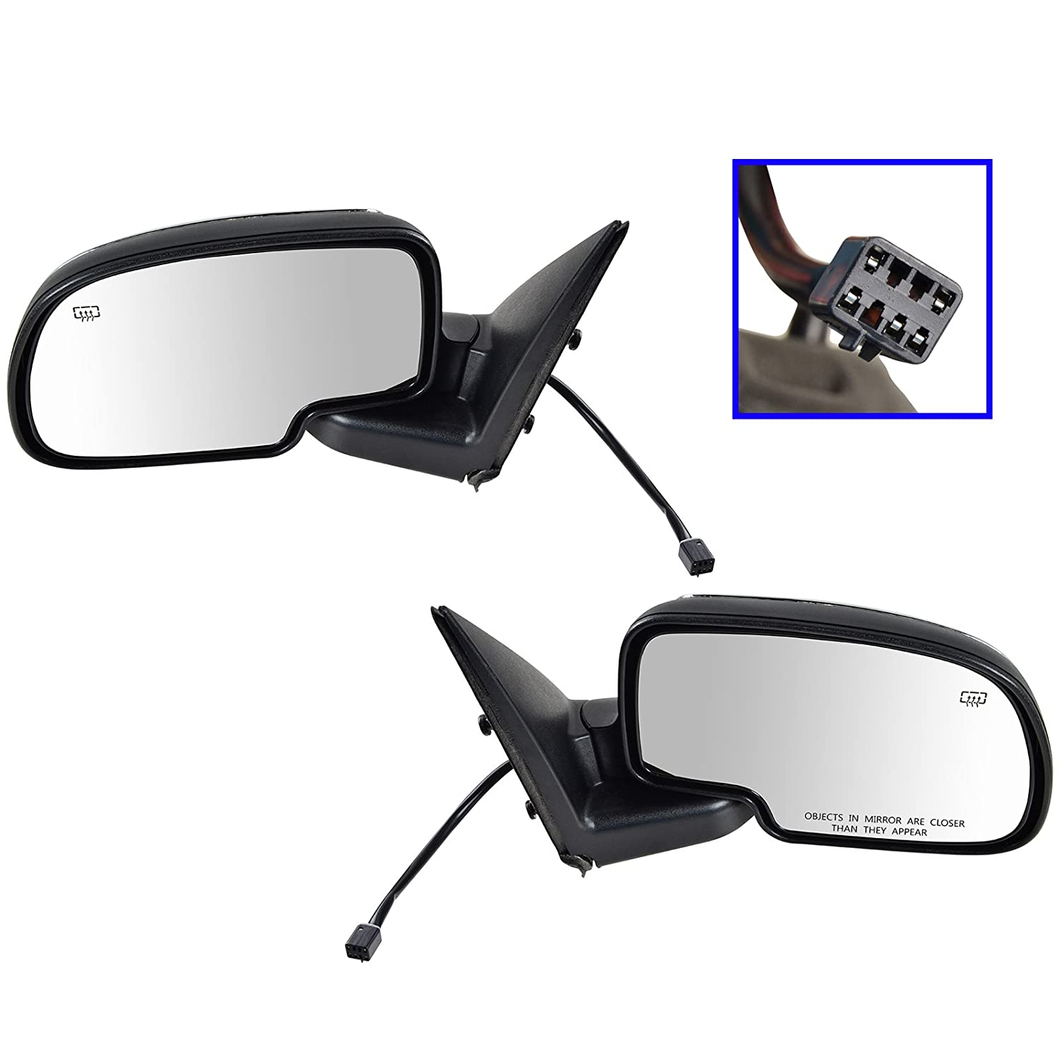 Chrome Heated Power Side View Mirrors Left /& Right Pair Set for Chevy GMC Truck 1A Auto
