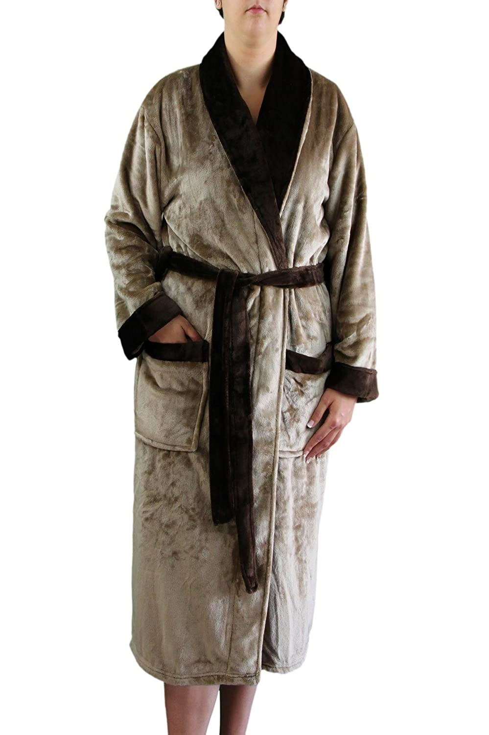 Goezze 20014-85-3 silk feeling bath robe with shawl collar, White, Größe S Gözze 20014-00-1
