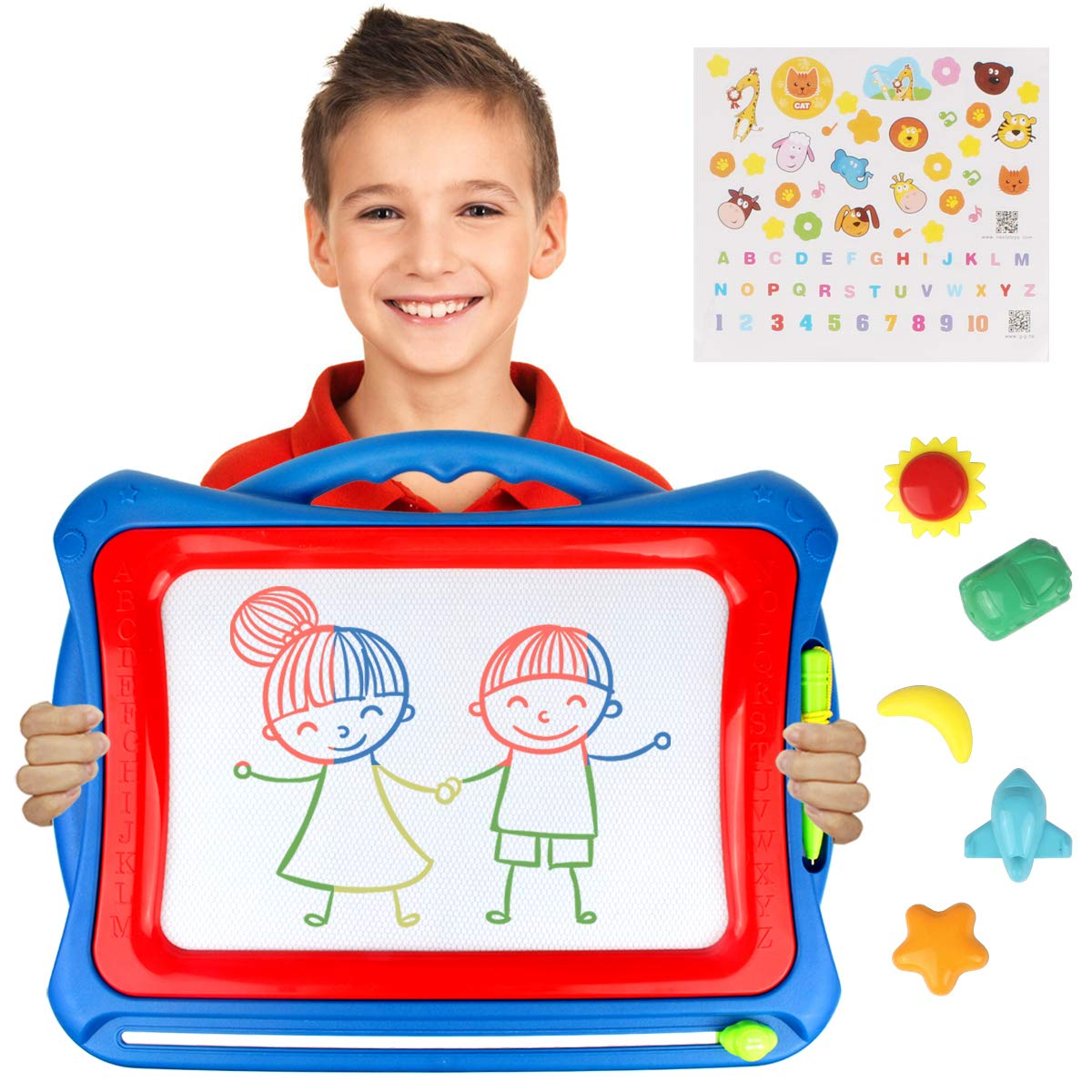 AMOSTING Magnetic Drawing Board, Travel Doodle Board Doodle Sketch Pad, Drawing Boards for Kids Travel Toys Scribble Board with Funny Stamps