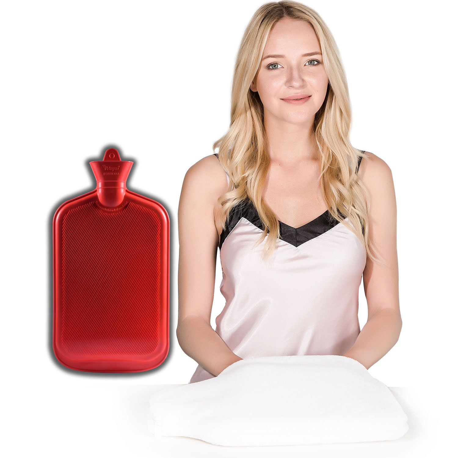 Peter Pan Classic Rubber Hot Water Bag,Hot Water Bottle Cover with Pocket, XXX-Large Size, Now it Has a Pocket to Wram Your Chilled Hands and Feet, 3.2 Quart Capacity,White