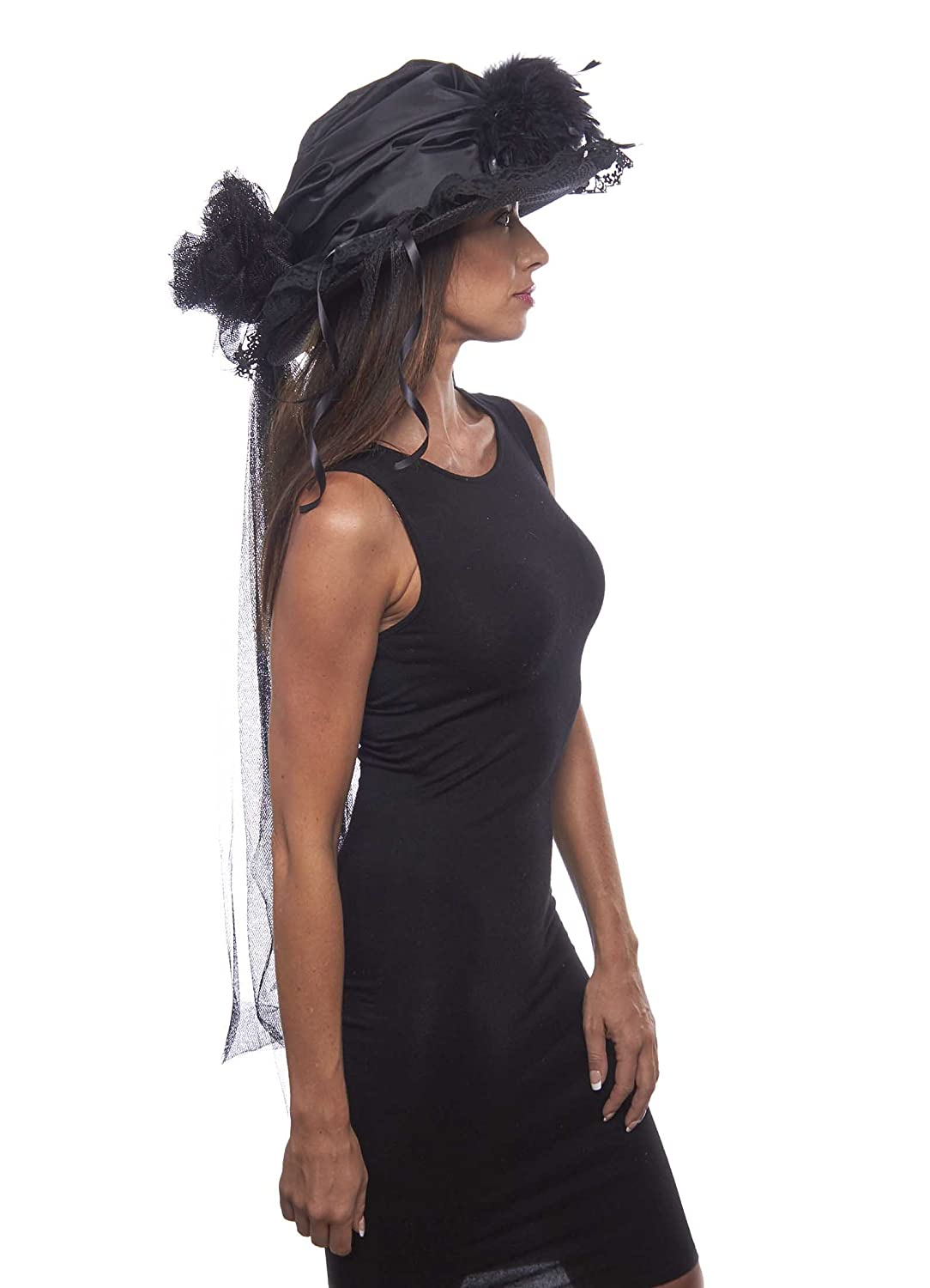 Edwardian Hats, Titanic Hats, Tea Party Hats Elegant Black Victorian Touring Hat $64.99 AT vintagedancer.com