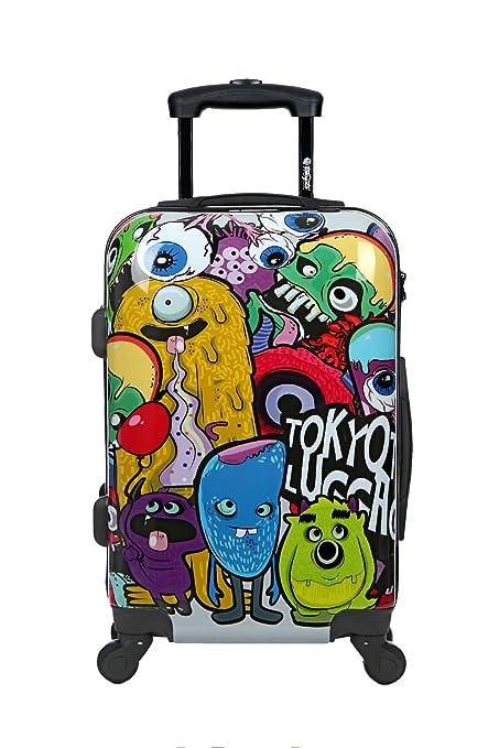 Maleta de cabina Equipaje de mano 55x40x20 Maleta juvenil trolley de viaje Ryanair Easyjet Maleta de viaje Rígida MONSTERS&ZOMBIES (Preparada para ...