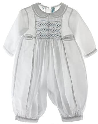 e3536a24b Amazon.com  Baby Boys Dressy Smocked White   Blue Romper Outfit (6M ...