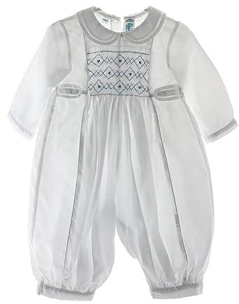 03637353e009 Amazon.com  Baby Boys Dressy Smocked White   Blue Romper Outfit (6M ...