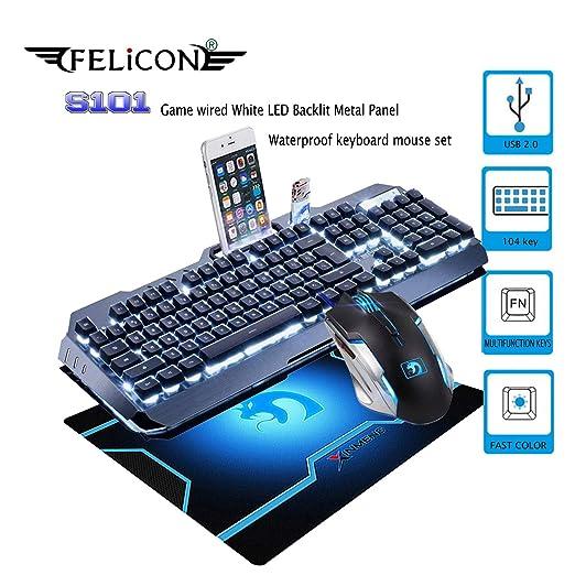 Amazon.com: FELICON Gaming Keyboard Mouse Combo Sets S 101 104 Keys Wired White LED Backlit Metal Panel Waterproof Multimedia Ergonomic USB Keyboard 2400DPI ...