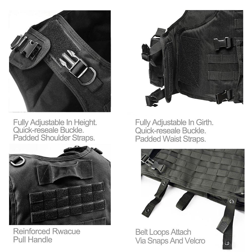 Camo Gilet Tactique, Veste Porte Plaque Ajustable pour Armée, Police, Equipement d'Extérieur ou Veste Cosplay du Jeu Counter Strike (Noir)