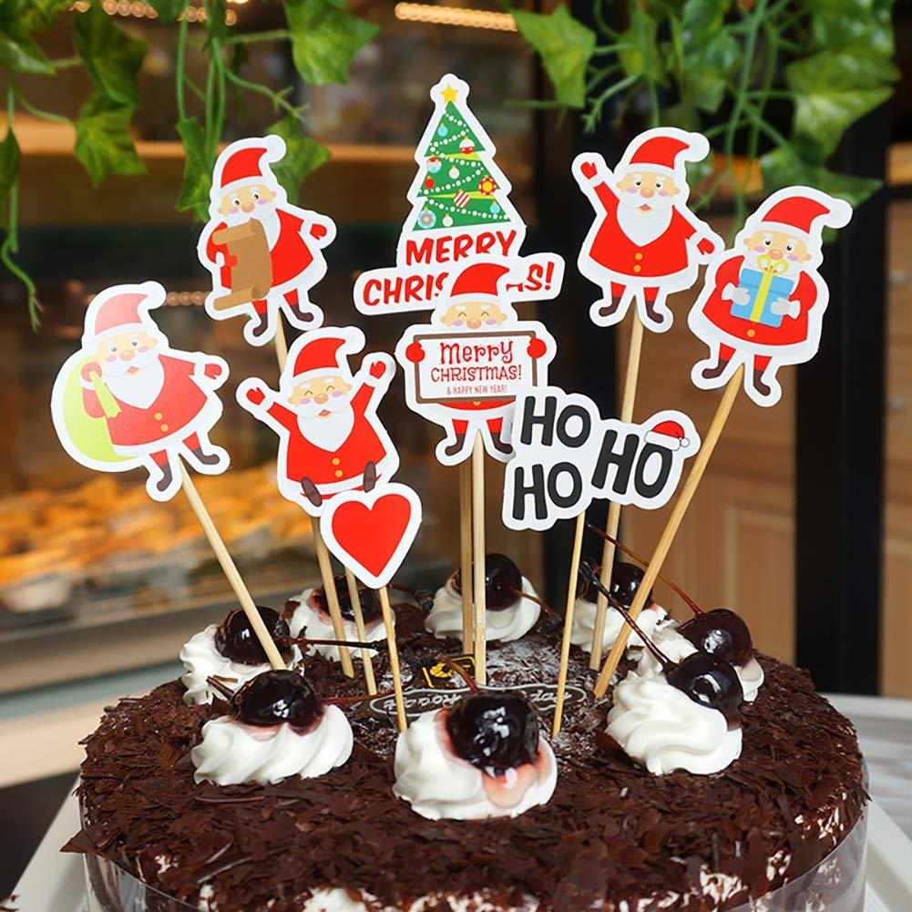 festa di compleanno matrimonio 9Pcs Babbo Natale Cupcake Toppers Christmas Cake decorazione creativa di torta Inserire cake topper scelte per il Natale