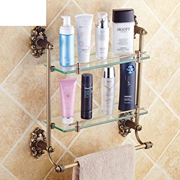 All copper antique European dressing table/Glass Shelf/With towel ...