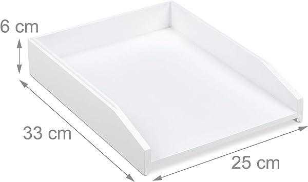 Bamb/ú 6 x 25 x 33 cm DIN A4 Apilable Organizador de Escritorio Relaxdays Bandeja para Documentos Blanco