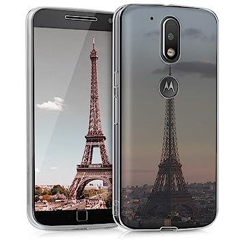 kwmobile Funda para Motorola Moto G4 / Moto G4 Plus - Carcasa de TPU para móvil y diseño Torre Eiffel en Antracita/Rosa Claro/Transparente