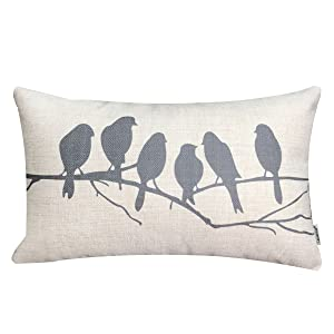 LAZAMYASA Fresh Animal Style Beautiful Rustic Birds Cotton Linen Blend Printed Cushion Cover Cotton Couch Throw Pillow Case Sham Pillowcase 12x20in,Grey