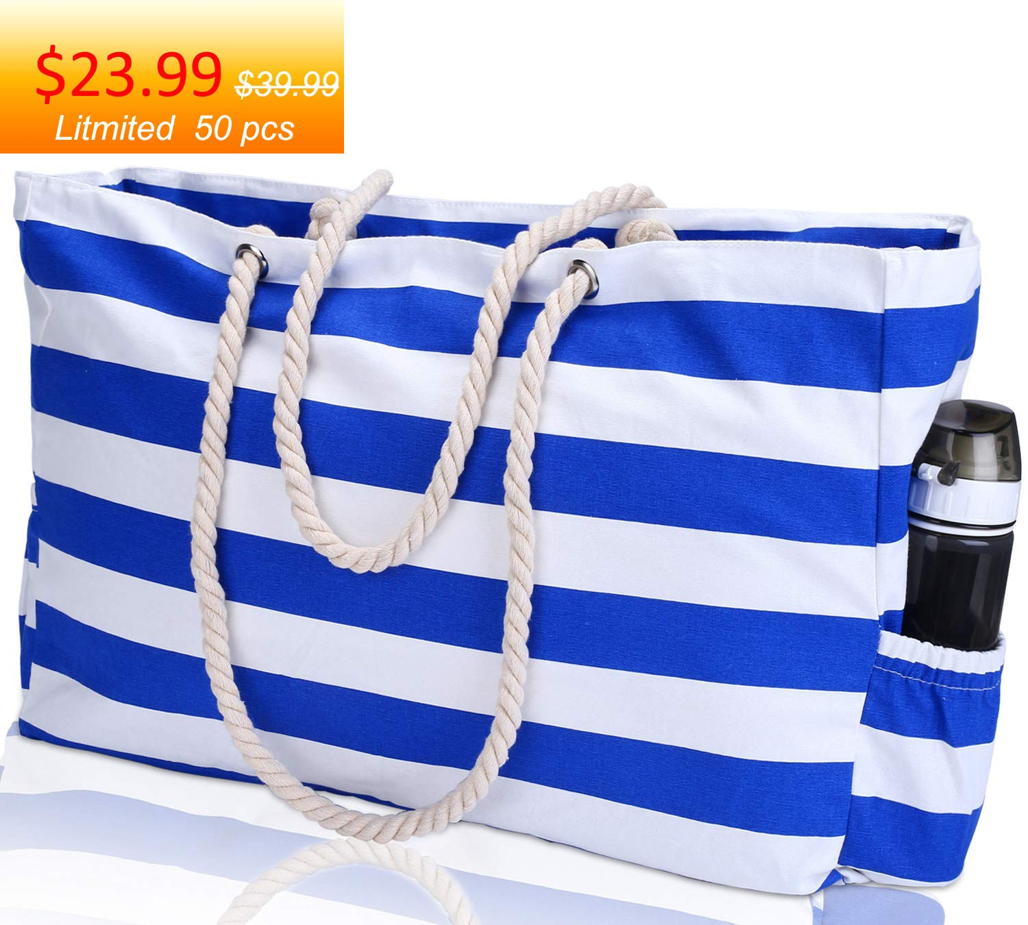 KUAK Beach Bag, Extra Large Canvas Beach Tote with 100% Waterproof Phone Case, Top Zipper, Cotton Rope Handles, Two Elastic Outside Pockets, Key Holder, Bottle Opener, Oversized Shoulder Beach Bag