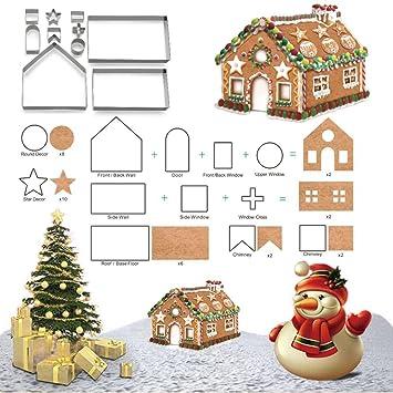 3d navidad Casa de jengibre Moldes, 10 piezas Navidad Starter - Juego de moldes para galletas: Amazon.es: Hogar