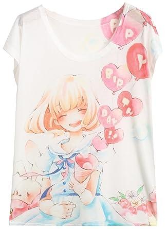 Sheinside® Damen T Shirt Kurzarm Mit Mädchen Ballon Druck