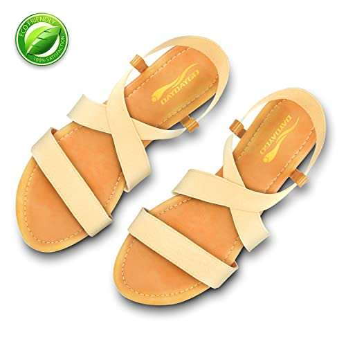 da60654259d46 DAYDAYGO Sandals for Women│Super Cute Comfortable Flat Sandals with Elastic  Strap and Lightly Padded
